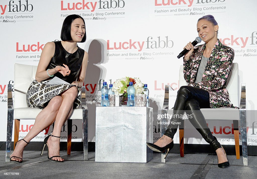 Lucky, Editor In Chief, Eva Chen (L) and Actress and Creative Director of House of Harlow 1960, Nicole Richie speak onstage with Aquacai water during Lucky