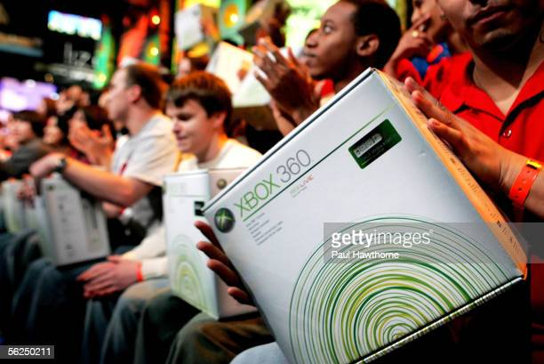Lucky fans attending MTV's Total Request Live take home the new XBOX 360 November 21, 2005 in New York City.