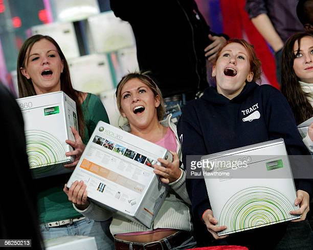 Lucky fans attending MTV's Total Request Live take home the new XBOX 360 November 21 2005 in New York City