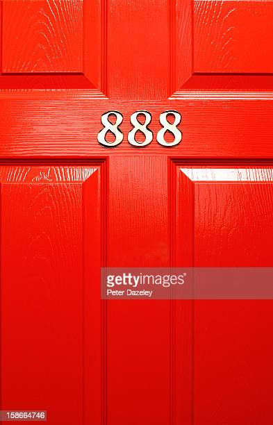 lucky front door number - wood material stock pictures, royalty-free photos & images