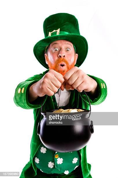 A lucky Leprechaun holding a pot of gold