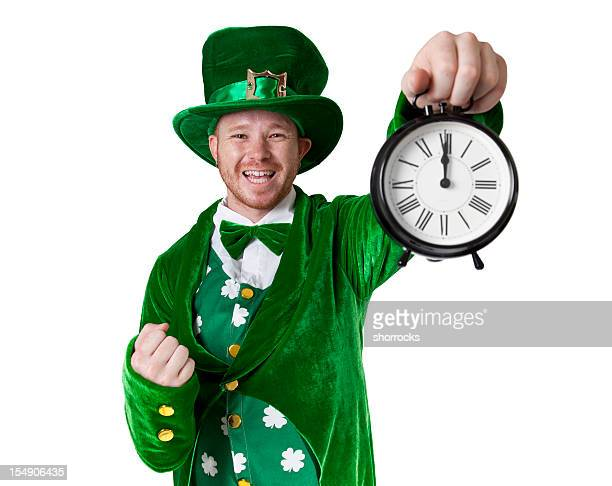 lucky leprechaun says it's time for something - leprechaun stock pictures, royalty-free photos & images