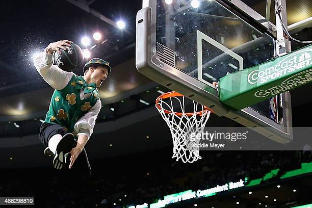 Lucky the Leprechaun performs during the third quarter at TD Garden on April 1 2015 in Boston Massachusetts The Celtics defeat the Pacers 10087 NOTE...