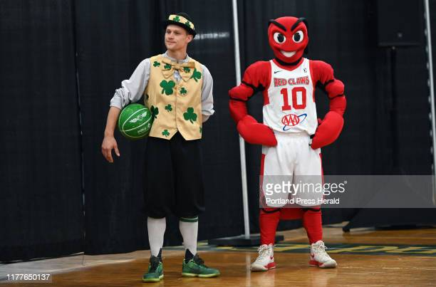 Lucky the Leprechaun the Celtics mascot and Crusher the Maine Red Claws Mascot attended the Press Conference at Portland Expo Tuesday October 15 2019