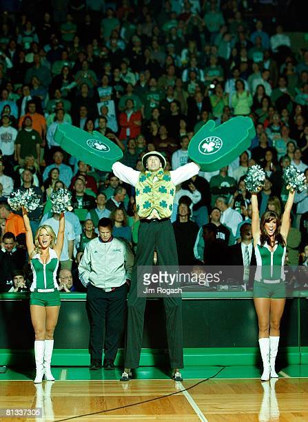 Lucky the Leprechaun the mascot for the Boston Celtics fires up the crowd before Game Two of the Eastern Conference Finals against the Detroit...