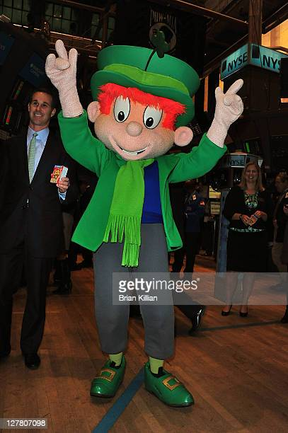 Lucky the Lucky Charms mascot visits the New York Stock Exchange on March 17 2011 in New York City