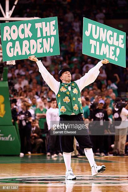 Lucky the mascot of the Boston Celtics performs against the Los Angeles Lakers in Game Six of the 2008 NBA Finals on June 17 2008 at the TD Banknorth...