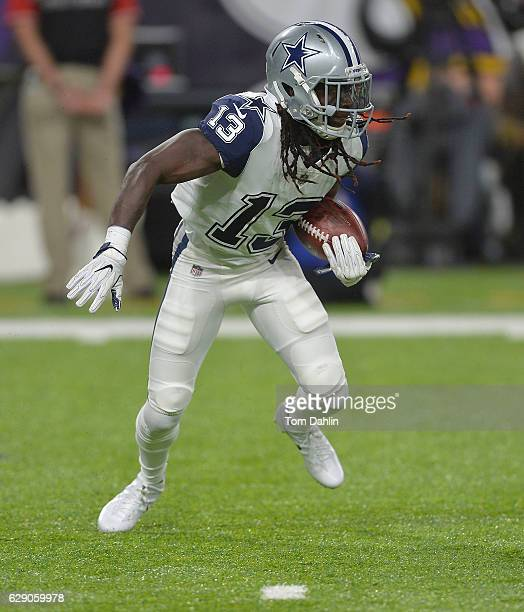 Lucky Whitehead of the Dallas Cowboys carries the ball during an NFL game against the Minnesota Vikings at US Bank Stadium December 1 2016 in...