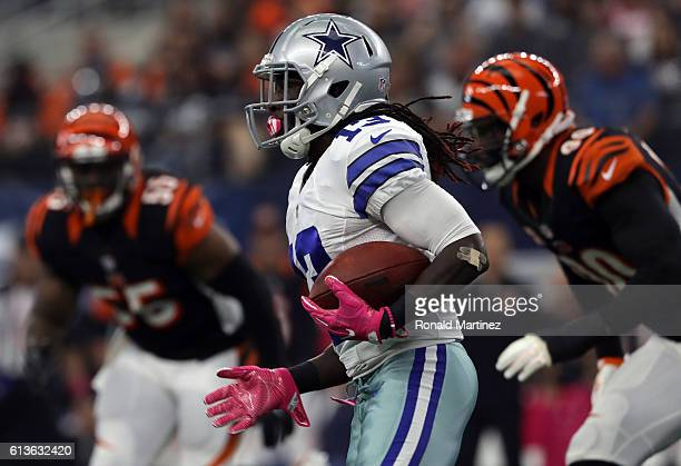 Lucky Whitehead of the Dallas Cowboys carries the ball during the first quarter against the Cincinnati Bengals at ATT Stadium on October 9 2016 in...