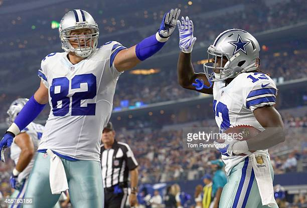 Lucky Whitehead of the Dallas Cowboys celebrates with Jason Witten of the Dallas Cowboys after scoring a touchdown against the Minnesota Vikings in...