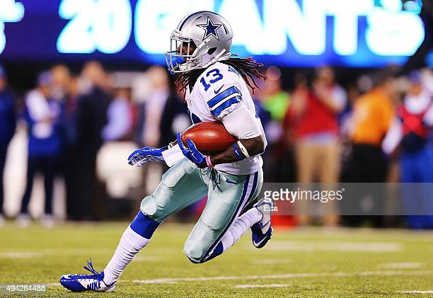 Lucky Whitehead of the Dallas Cowboys runs the ball during the third quarter against the New York Giants at MetLife Stadium on October 25 2015 in...