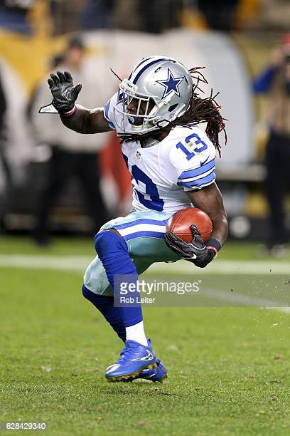 Lucky Whitehead of the Dallas Cowboys runs with the ball during the game against the Pittsburgh Steelers at Heinz Field on November 13 2016 in...