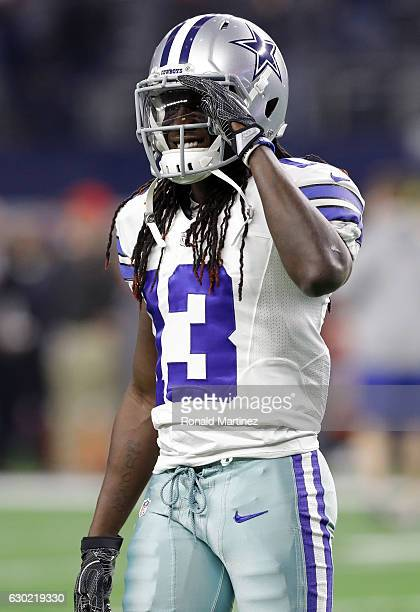 Lucky Whitehead of the Dallas Cowboys warms up on the field prior to the game against the Tampa Bay Buccaneers at ATT Stadium on December 18 2016 in...