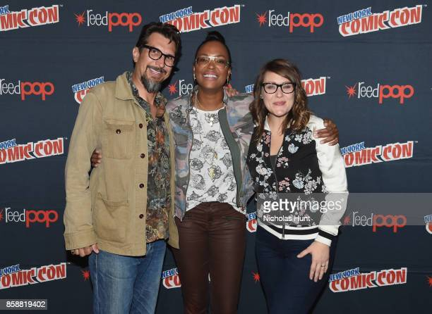Lucky Yates Amber Nash and Aisha Tyler attend the Archer Danger Island Screening and QA panel during 2017 New York Comic Con Day 3 on October 7 2017...