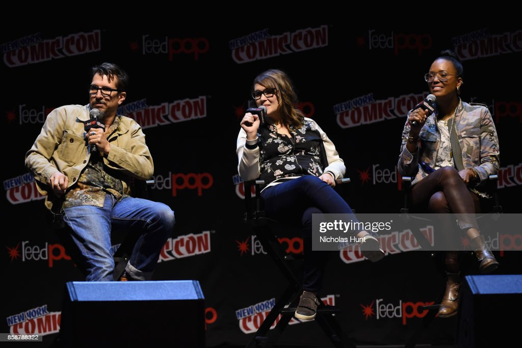 Lucky Yates, Amber Nash and Aisha Tyler speak at the Archer: Danger Island - Screening and Q&A panel during 2017 New York Comic Con - Day 3 on October 7, 2017 in New York City.