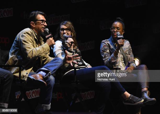 Lucky Yates Amber Nash and Aisha Tyler speak at the Archer Danger Island Screening and QA panel during 2017 New York Comic Con Day 3 on October 7...