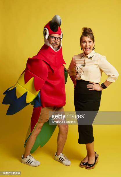 Lucky Yates and Amber Nash from FXX's 'Archer' pose for a portrait in the Getty Images Portrait Studio powered by Pizza Hut at San Diego 2018 Comic...