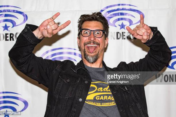 Lucky Yates attends the Archer press room at WonderCon 2019 Day 3 at Anaheim Convention Center on March 31 2019 in Anaheim California