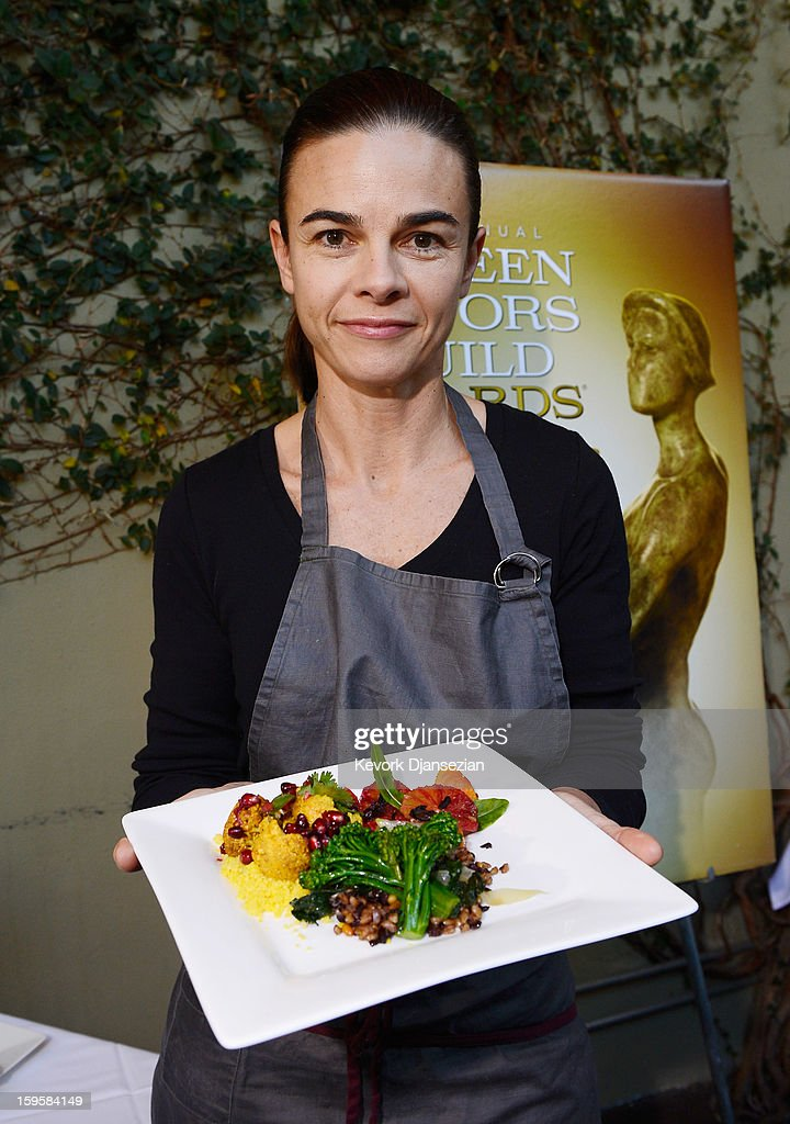 Lucques chef Suzanne Goin holds a vegan plate which she prepared and to be served at the 19th annual SAG Awards during food and wine tasting event at Lucques Restaurant on January 16, 2013 in Los Angeles, California. The 19th Annual Screen Actor Guild Awards will be held at the Shrine Auditorium in Los Angeles on January 27.