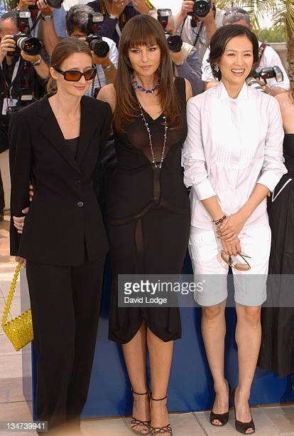 Lucracia Martel Monica Bellucci and Ziyi Zhang during 2006 Cannes Film Festival Jury Photo Call at Palais du Festival in Cannes France