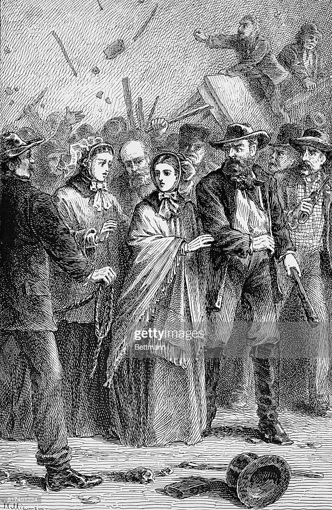 Print of Lucretia Mott Being Protected from Angry Male Mob : News Photo