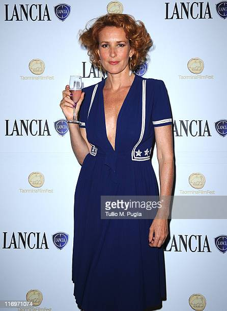 Lucrezia Lante Della Rovere attends the 57th Taormina Film Fest closing ceremony cocktail party at Lancia Cafe on June 18 2011 in Taormina Italy