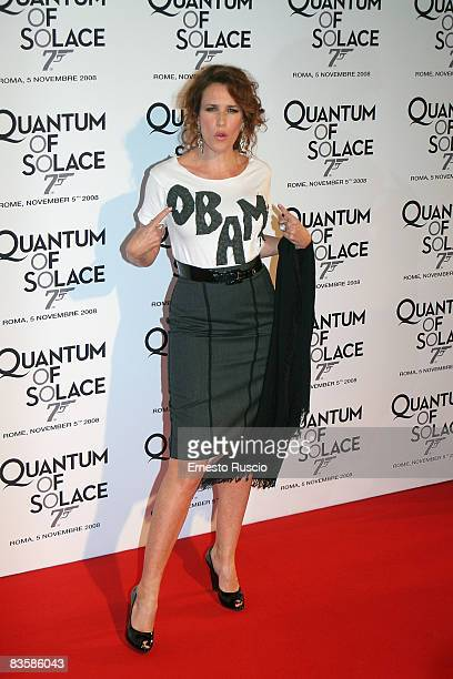 """Lucrezia Lante Della Rovere, wearing a top supporting """"Obama"""", attends the """"Quantum Of Solace"""" premiere at the Warner Village Moderno cinema on..."""