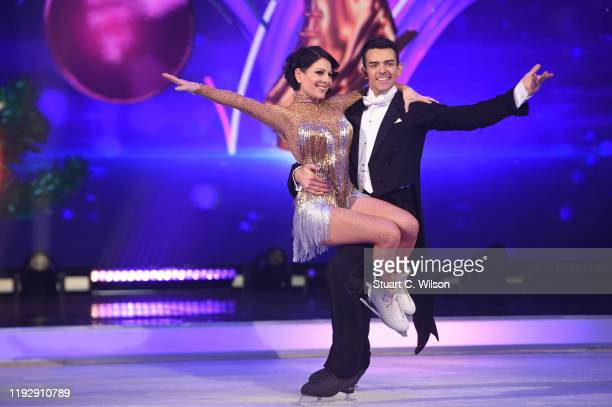 Lucrezia Millarini and Brendyn Hatfield on the ice during the Dancing On Ice 2019 photocall at ITV Studios on December 09 2019 in London England