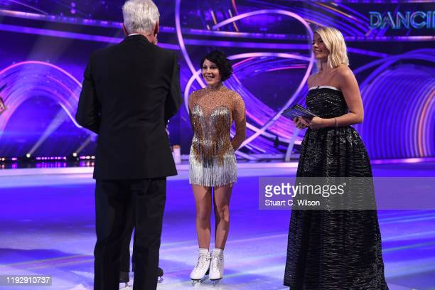 Lucrezia Millarini speaks with Phillip Schofield and Holly Willoughby on the ice during the Dancing On Ice 2019 photocall at ITV Studios on December...