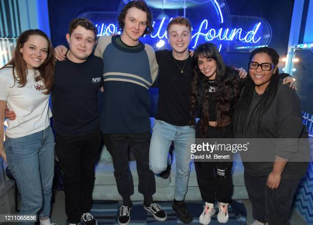 Lucy Anderson Jack Loxton Doug Colling Sam Tutty Camila Cabello and guest pose backstage at the press night performance of Dear Evan Hansen at Noel...