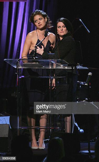 Lucy Award Honoree Debra Messing and Megan Mullally attends the 'Women In Film presents Fusion The 2005 Crystal and Lucy Awards' June 10 2005 at the...