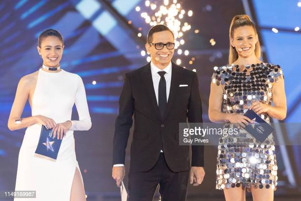 Lucy Ayoub Erez Tal and Bar Refaeli host the 64th annual Eurovision Song Contest held at Tel Aviv Fairgrounds on May 14 2019 in Tel Aviv Israel