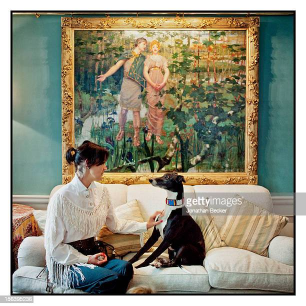 Lucy Birley Robin Birley's wife is photographed with her dog in the drawing room at 5 Hertford Street which is home to the nightclub Loulou's for...