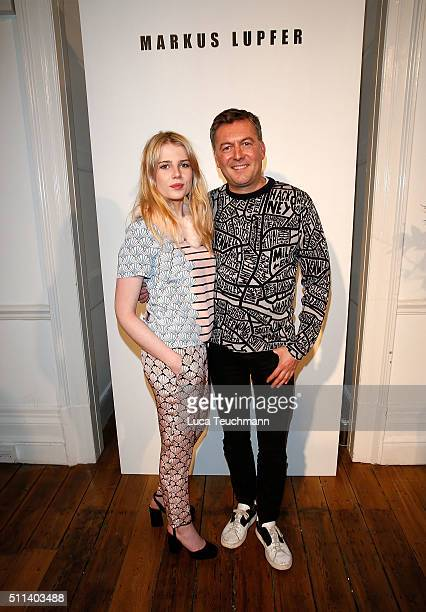 Lucy Boynton and Markus Lupher attend the Markus Lupher show during London Fashion Week Autumn/Winter 2016/17 at on February 20 2016 in London England