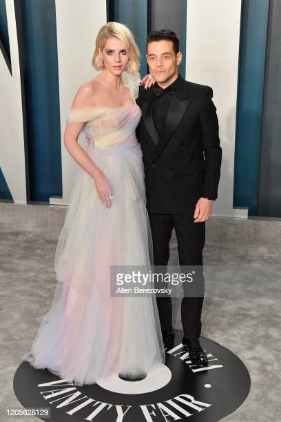 Lucy Boynton and Rami Malek arrive at the 2020 Vanity Fair Oscar Party hosted by Radhika Jones at Wallis Annenberg Center for the Performing Arts on...