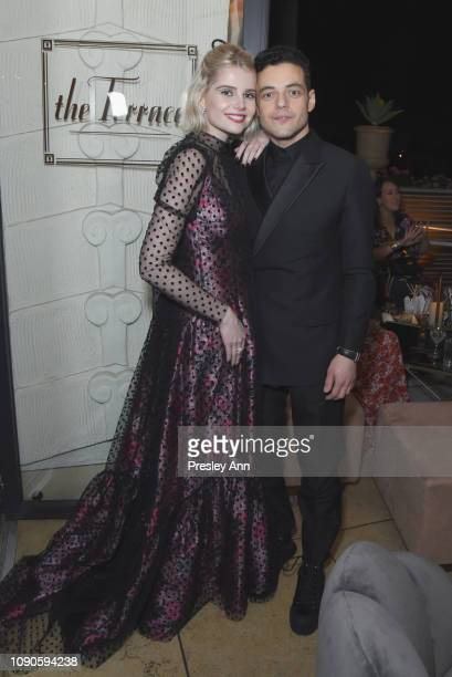 Lucy Boynton and Rami Malek attend Netflix 2019 SAG Awards after party at Sunset Tower Hotel on January 27 2019 in West Hollywood California