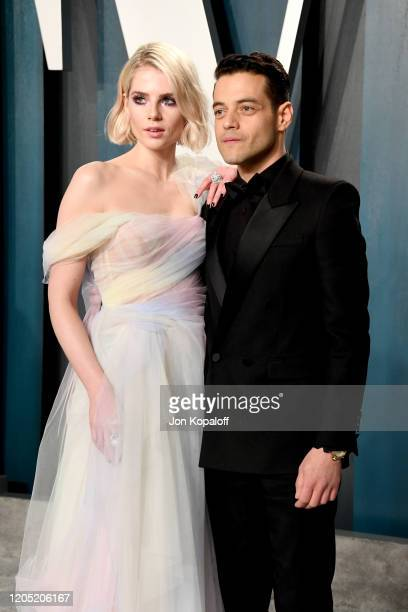 Lucy Boynton and Rami Malek attend the 2020 Vanity Fair Oscar Party hosted by Radhika Jones at Wallis Annenberg Center for the Performing Arts on...