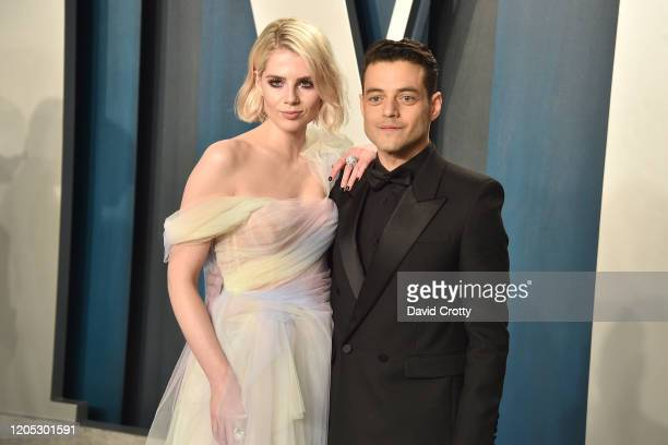 Lucy Boynton and Rami Malek attend the 2020 Vanity Fair Oscar Party at Wallis Annenberg Center for the Performing Arts on February 09, 2020 in...