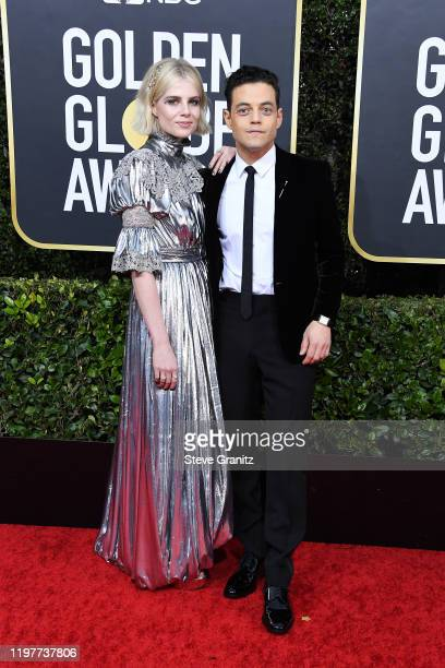 Lucy Boynton and Rami Malek attend the 77th Annual Golden Globe Awards at The Beverly Hilton Hotel on January 05, 2020 in Beverly Hills, California.