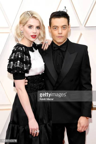 Lucy Boynton and Rami Malek attend the 92nd Annual Academy Awards at Hollywood and Highland on February 09 2020 in Hollywood California