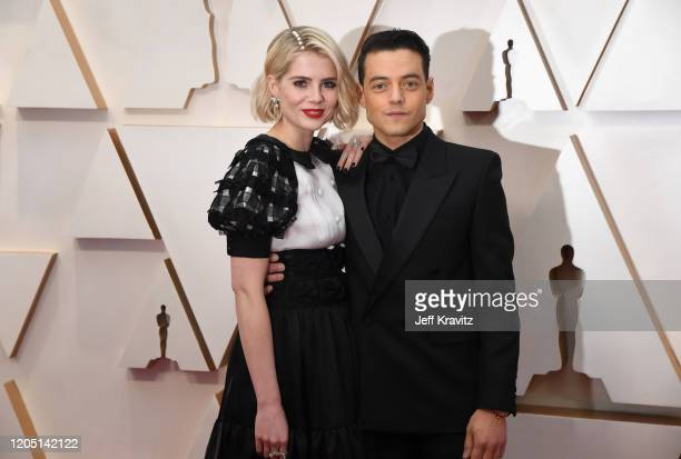 Lucy Boynton and Rami Malek attend the 92nd Annual Academy Awards at Hollywood and Highland on February 09, 2020 in Hollywood, California.