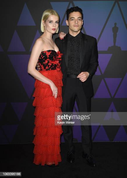 Lucy Boynton and Rami Malek attend the Academy of Motion Picture Arts and Sciences' 10th annual Governors Awards at The Ray Dolby Ballroom at...