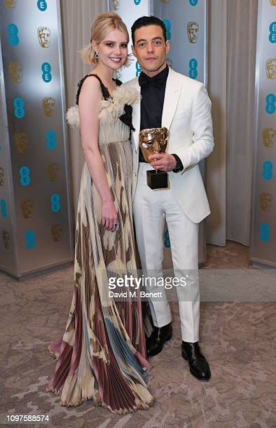Lucy Boynton and Rami Malek attend the EE British Academy Film Awards gala dinner at The Grosvenor House Hotel on February 10, 2019 in London,...