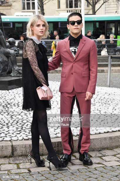 Lucy Boynton and Rami Malek attend the Miu Miu show as part of the Paris Fashion Week Womenswear Fall/Winter 2018/2019 on March 6 2018 in Paris France