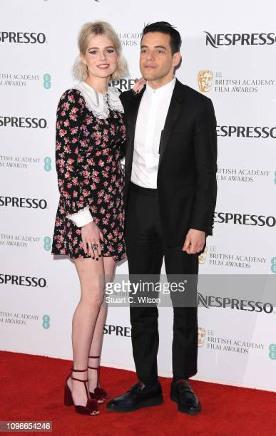 Lucy Boynton and Rami Malek attend the Nespresso British Academy Film Awards nominees party at Kensington Palace on February 9 2019 in London England
