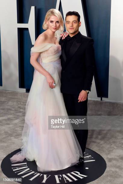 Lucy Boynton and Rami Malek attend the Vanity Fair Oscar Party at Wallis Annenberg Center for the Performing Arts on February 09, 2020 in Beverly...
