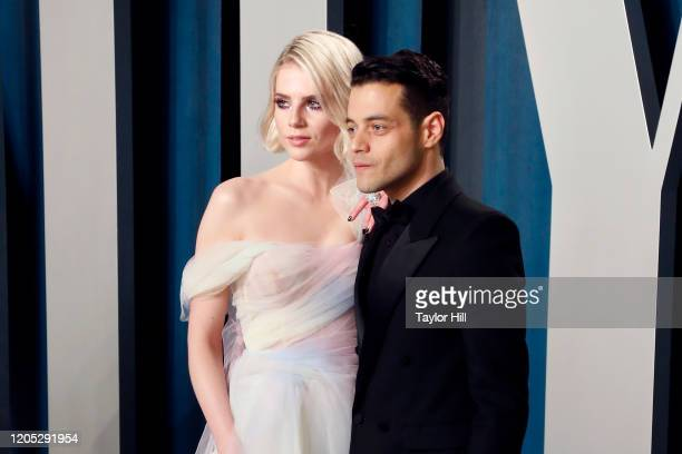 Lucy Boynton and Rami Malek attend the Vanity Fair Oscar Party at Wallis Annenberg Center for the Performing Arts on February 09 2020 in Beverly...
