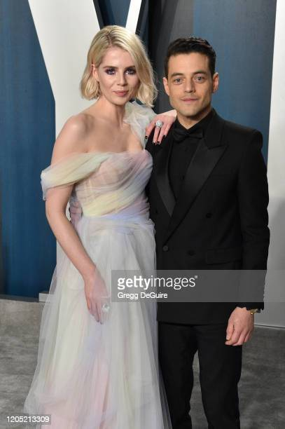 Lucy Boynton and Rami Malek attends the 2020 Vanity Fair Oscar Party hosted by Radhika Jones at Wallis Annenberg Center for the Performing Arts on...