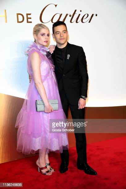 Lucy Boynton and Rami Malek during the Clash de Cartier event at la Conciergerie on April 10 2019 in Paris France