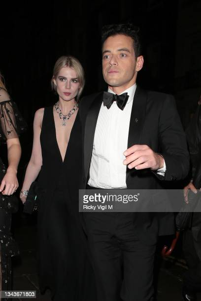 Lucy Boynton and Rami Malek seen attending Bond: No Time To Die - world film premiere after parties on September 28, 2021 in London, England.